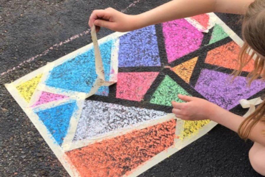 stoepkrijt schildertape kunst creatieve activiteiten kleuter